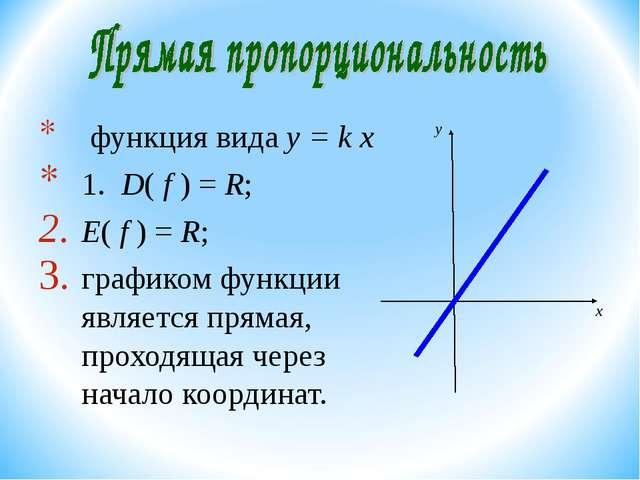 функция вида y = k х 1. D( f ) = R; E( f ) = R; графиком функции является пр...