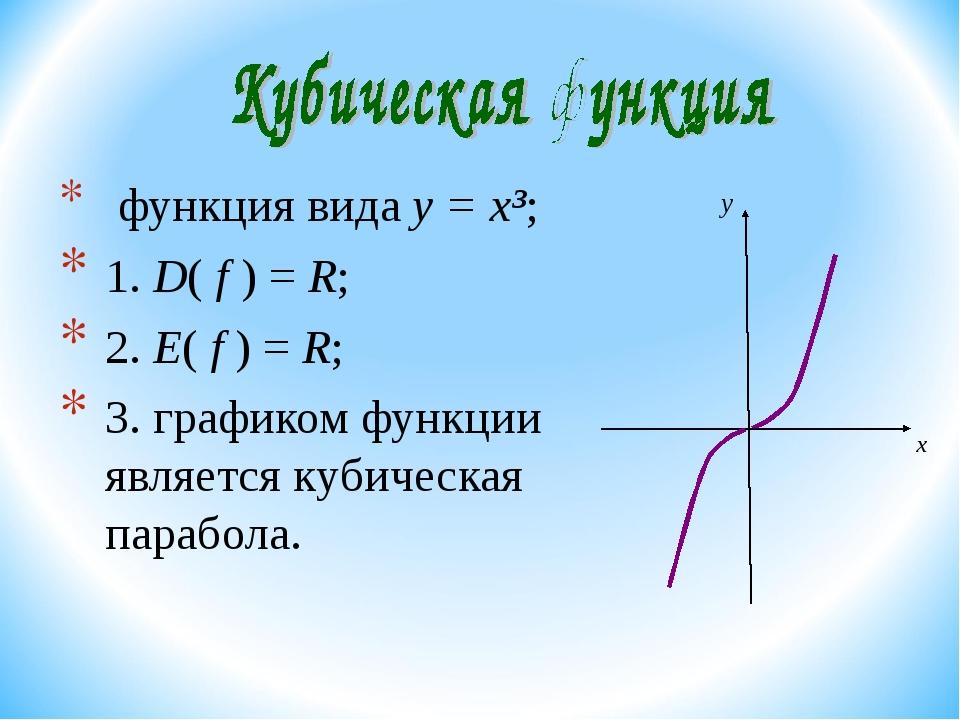 функция вида y = x³; 1. D( f ) = R; 2. E( f ) = R; 3. графиком функции являе...