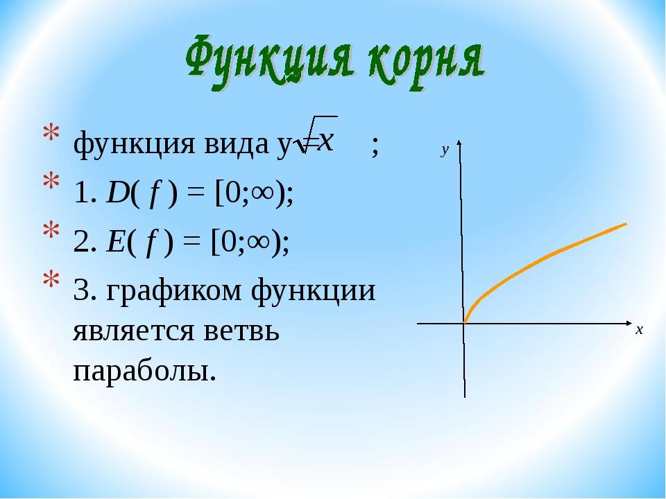 функция вида y = ; 1. D( f ) = [0;∞); 2. E( f ) = [0;∞); 3. графиком функции...
