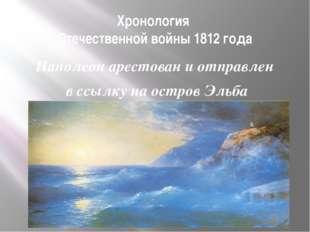 Хронология Отечественной войны 1812 года Наполеон арестован и отправлен в ссы