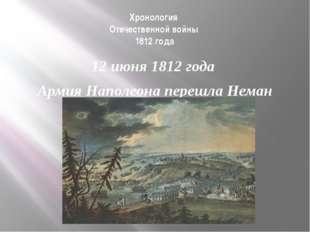 Хронология Отечественной войны 1812 года 12 июня 1812 года Армия Наполеона пе