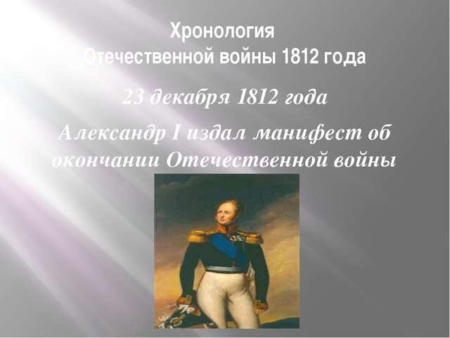 Хронология Отечественной войны 1812 года 23 декабря 1812 года Александр I изд...