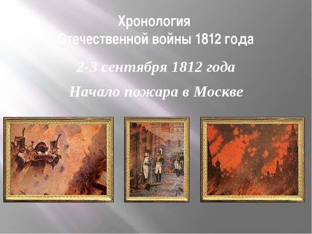 Хронология Отечественной войны 1812 года 2-3 сентября 1812 года Начало пожара...