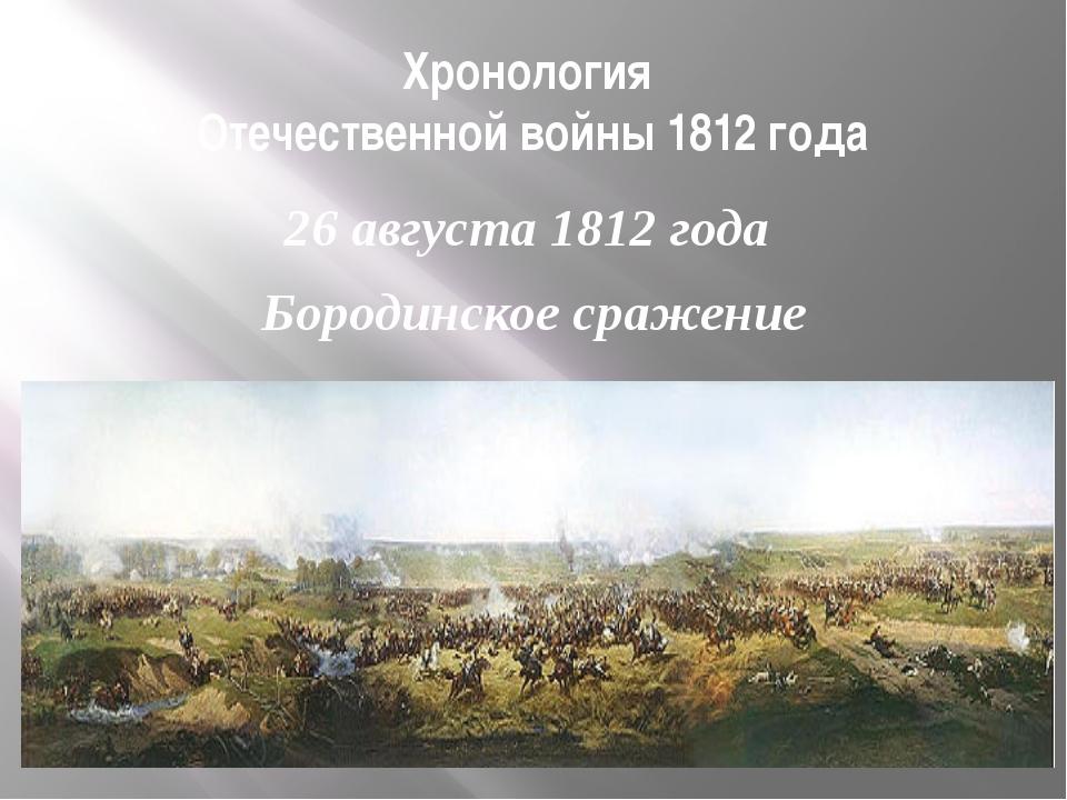 Хронология Отечественной войны 1812 года 26 августа 1812 года Бородинское сра...