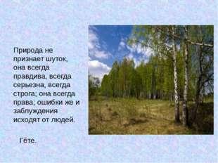 Природа не признает шуток, она всегда правдива, всегда серьезна, всегда стро