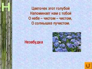 Цветочек этот голубой Напоминает нам с тобой О небе – чистом – чистом, О солн