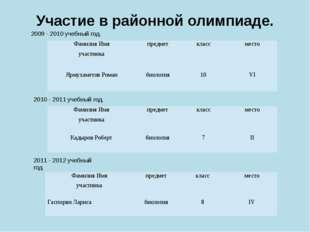 Участие в районной олимпиаде. 2009 - 2010 учебный год. 2010 - 2011 учебный го