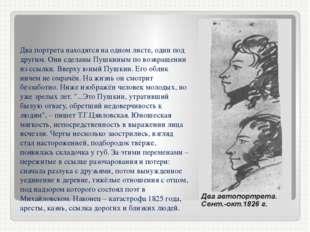 Два портрета находятся на одном листе, один под другим. Они сделаны Пушкиным