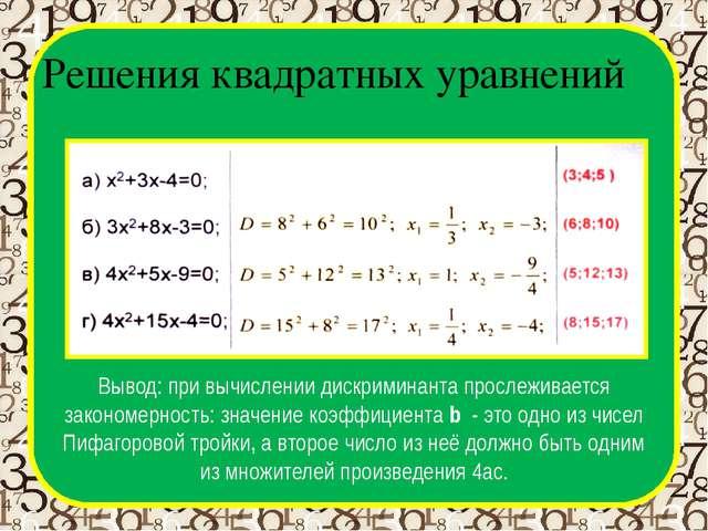 Решения квадратных уравнений D Вывод: при вычислении дискриминанта прослежива...