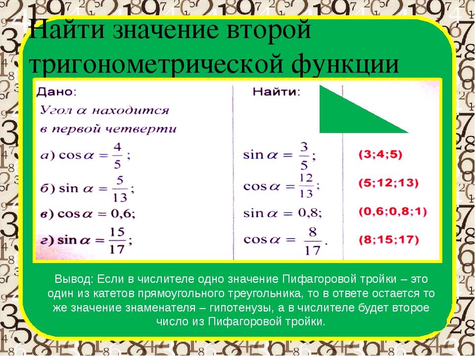 Найти значение второй тригонометрической функции Вывод: Если в числителе одно...