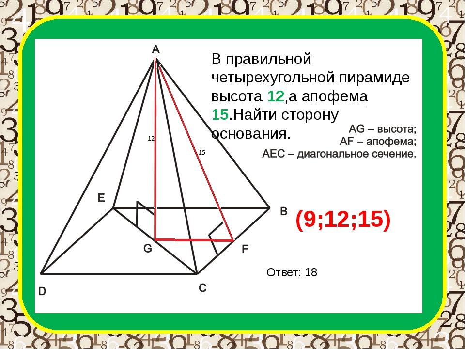 В правильной четырехугольной пирамиде высота 12,а апофема 15.Найти сторону ос...