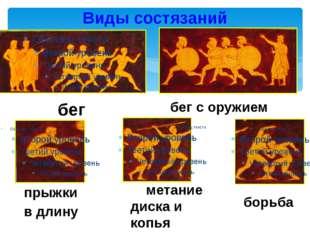 Виды состязаний бег с оружием бег прыжки в длину метание диска и копья борьб