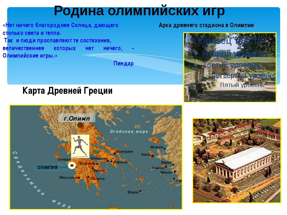 Родина олимпийских игр Арка древнего стадиона в Олимпии Карта Древней Греции...
