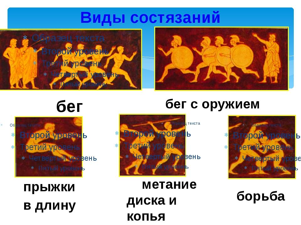 Виды состязаний бег с оружием бег прыжки в длину метание диска и копья борьб...