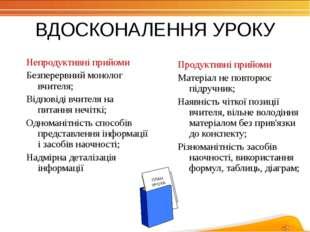 ВДОСКОНАЛЕННЯ УРОКУ Непродуктивні прийоми Безперервний монолог вчителя; Відпо