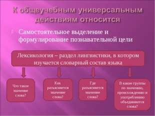 Самостоятельное выделение и формулирование познавательной цели Лексикология –