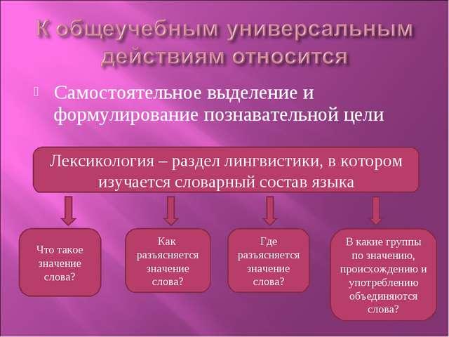 Самостоятельное выделение и формулирование познавательной цели Лексикология –...
