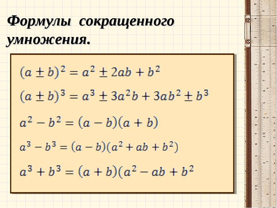 Презентация по алгебре 7 класс формулы сокращенного умножения