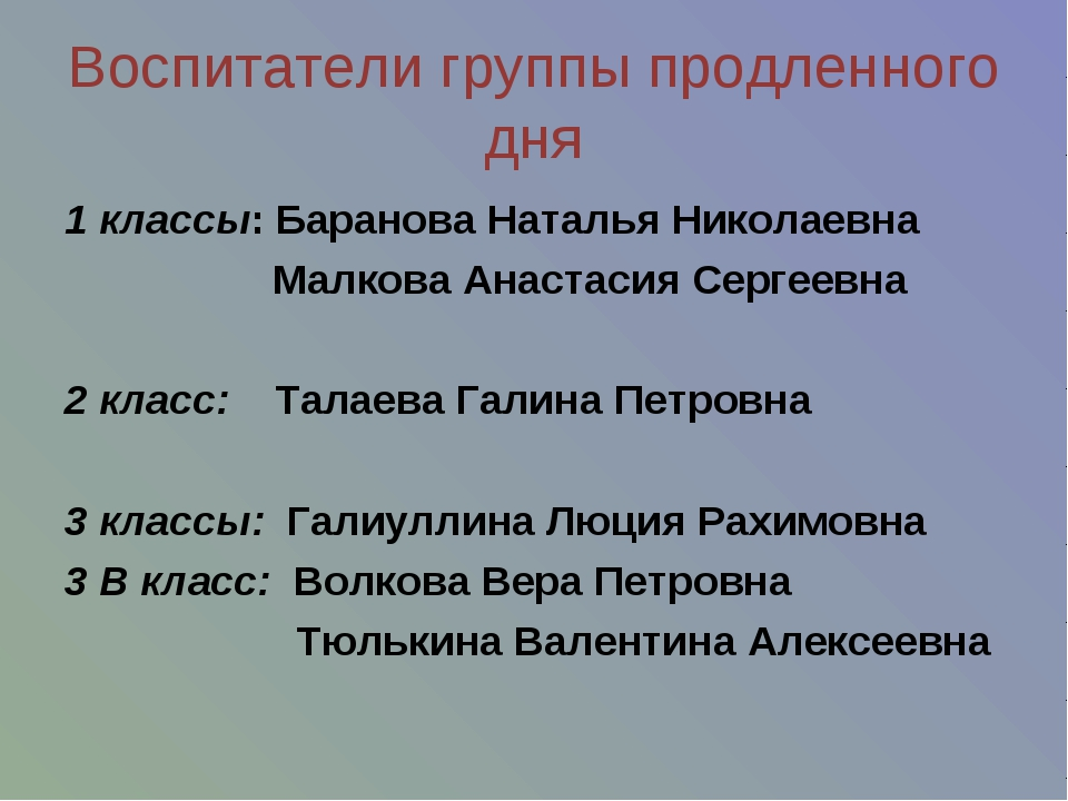 Воспитатели группы продленного дня 1 классы: Баранова Наталья Николаевна Малк...