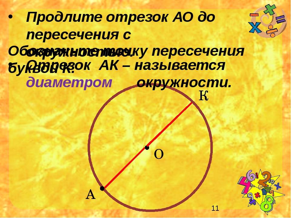А Продлите отрезок АО до пересечения с окружностью. О Обозначьте точку перес...