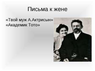 Письма к жене «Твой муж А.Актрисын» «Академик Тото»