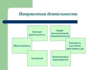 Направления деятельности Урочная деятельность Мини-проекты Акции экологическо
