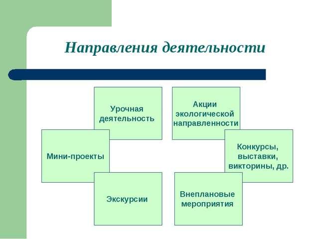 Направления деятельности Урочная деятельность Мини-проекты Акции экологическо...