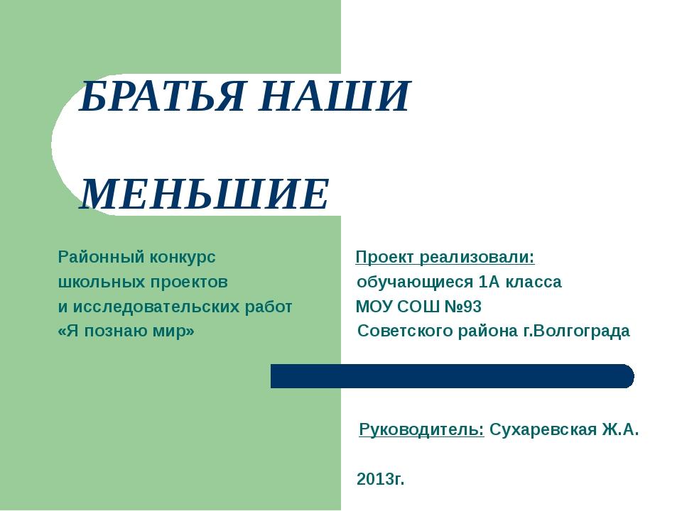 БРАТЬЯ НАШИ МЕНЬШИЕ Районный конкурс Проект реализовали: школьных проектов об...