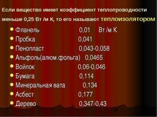 Если вещество имеет коэффициент теплопроводности меньше 0,25 Вт /м К, то его