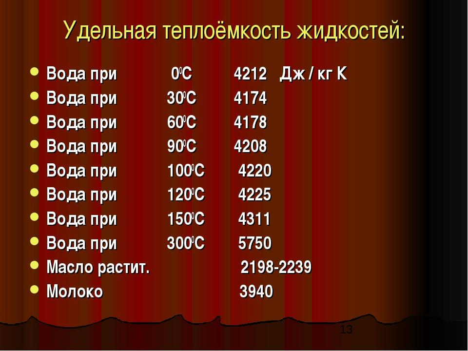 Удельная теплоёмкость жидкостей: Вода при 00С 4212 Дж / кг К Вода при 300С 41...