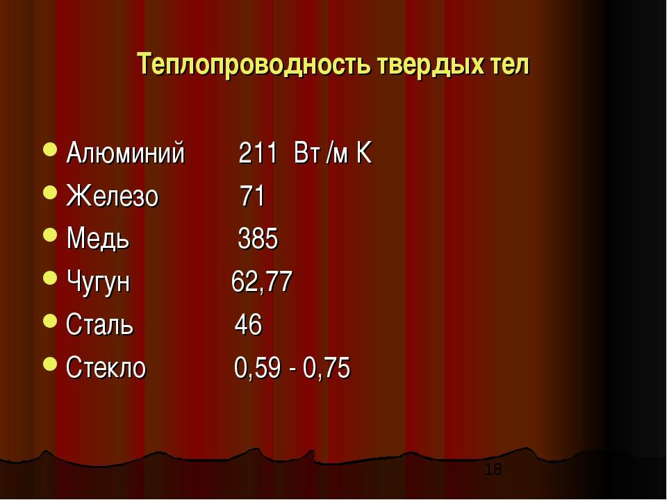 Теплопроводность твердых тел Алюминий 211 Вт /м К Железо 71 Медь 385 Чугун 62...
