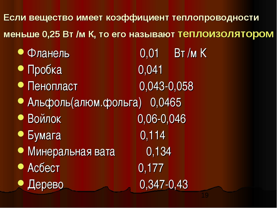 Если вещество имеет коэффициент теплопроводности меньше 0,25 Вт /м К, то его...