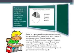 Завуч школы подвёл итоги контрольной работы по математике в 9-х классах. Рез