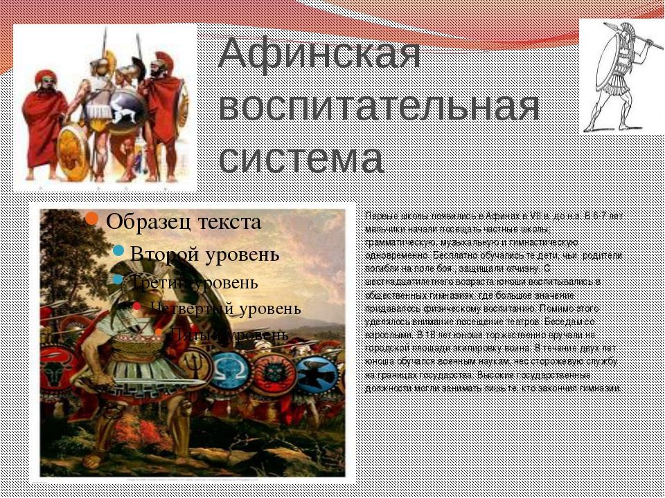 Афинская воспитательная система Первые школы появились в Афинах в VII в. до н...