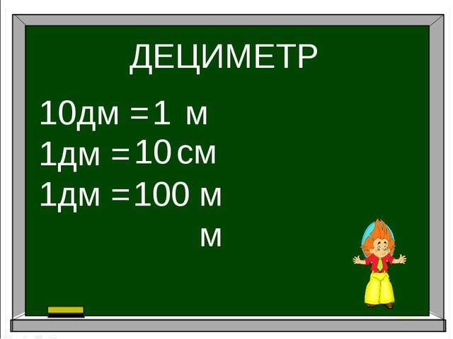 ДЕЦИМЕТР 10дм = 1дм = 1дм = 1 10 100 м см мм