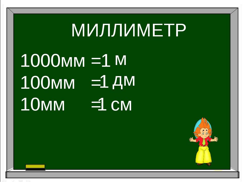 МИЛЛИМЕТР 1000мм = 100мм = 10мм = 1 1 1 м дм см