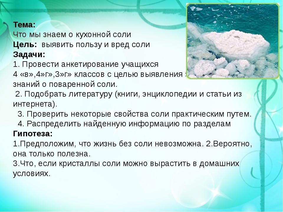 Тема: Что мы знаем о кухонной соли Цель: выявить пользу и вред соли Задачи: 1...