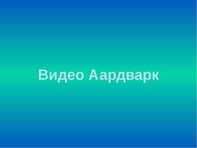 Видео Аардварк