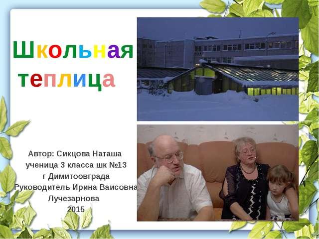 Автор: Сикцова Наташа ученица 3 класса шк №13 г Димитоовграда Руководитель Ир...