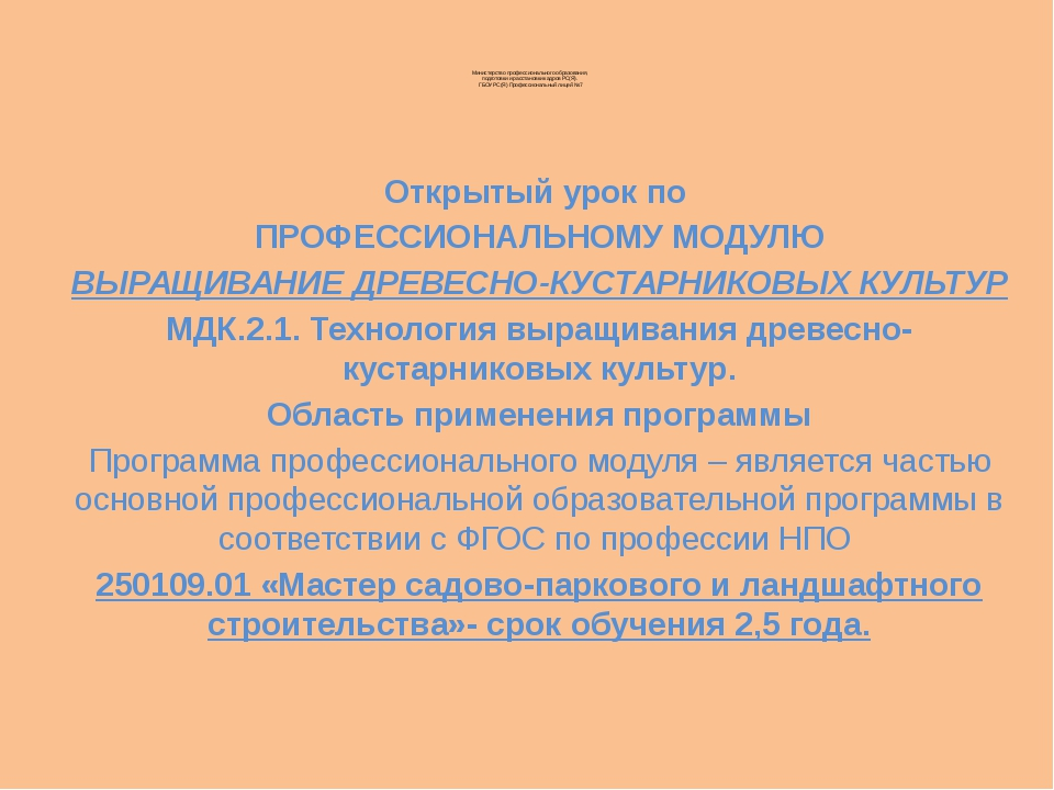 Министерство профессионального образования, подготовки и расстановки кадров...