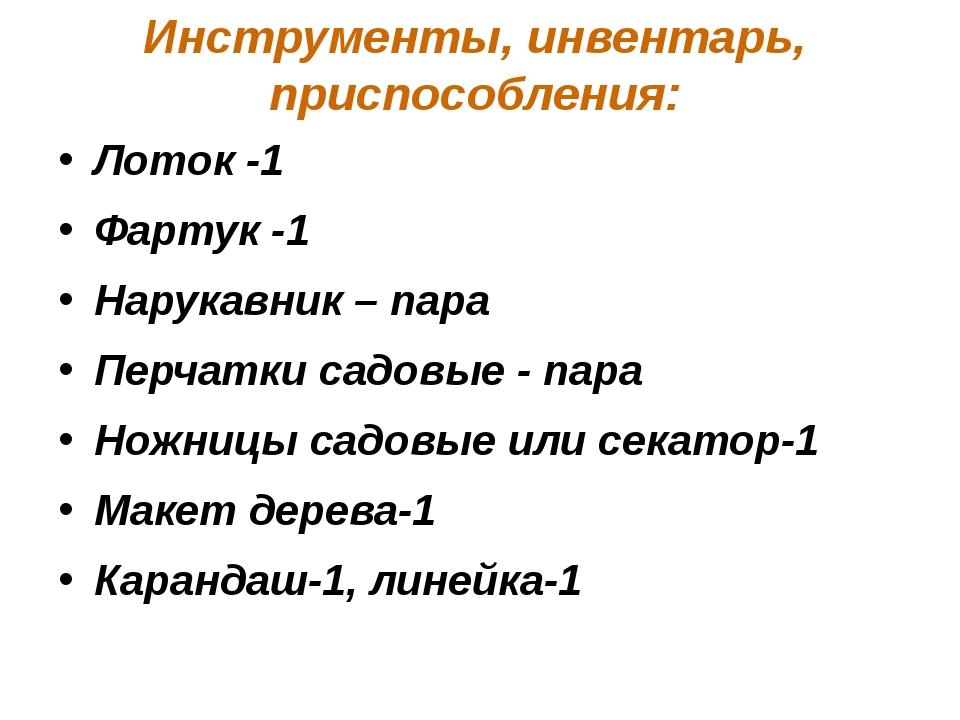Инструменты, инвентарь, приспособления: Лоток -1 Фартук -1 Нарукавник – пара...