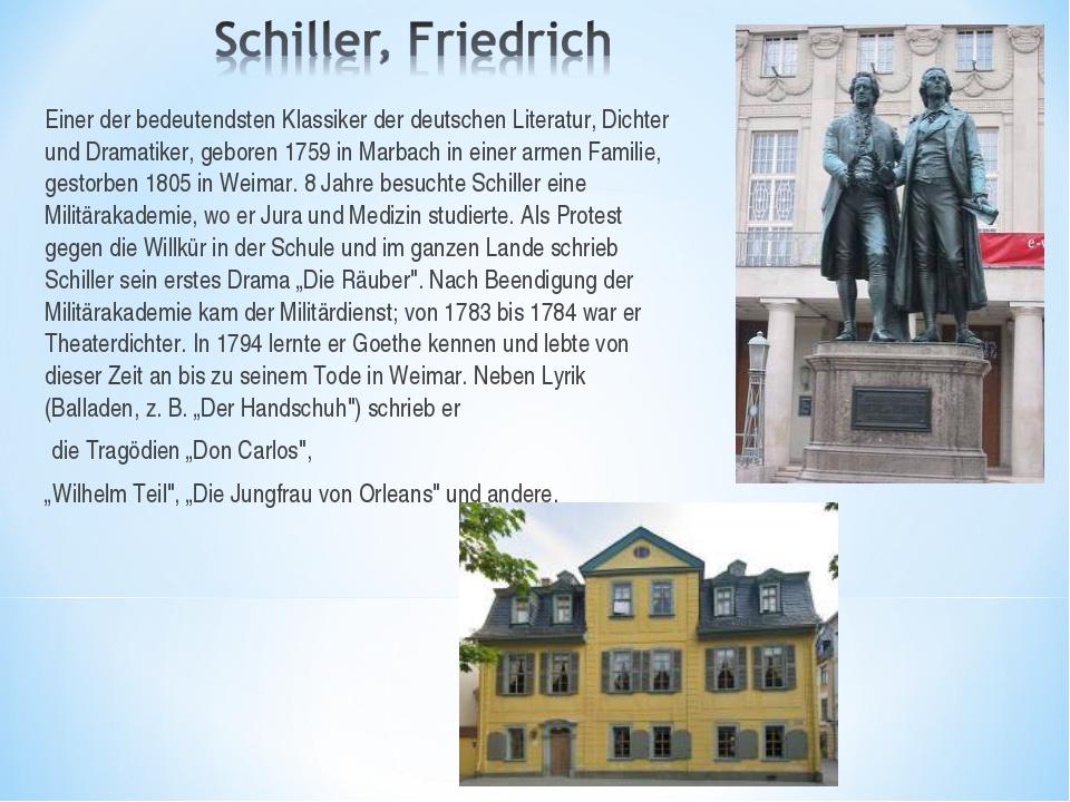 Einer der bedeutendsten Klassiker der deutschen Literatur, Dichter und Dramat...