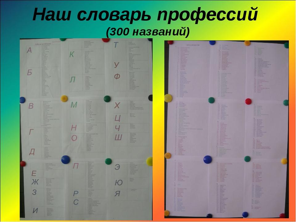 Наш словарь профессий (300 названий)