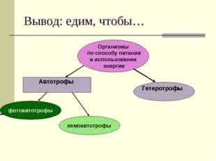 Вывод: едим, чтобы… Организмы по способу питания и использовании энергии хемо