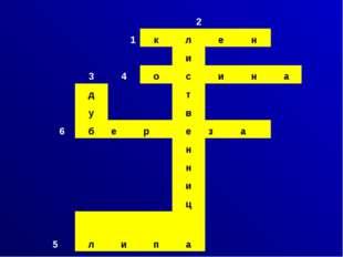2 1 к л е н и 3 4 о с и н а д т у в 6 б е р е з а н н и ц 5 л и п а