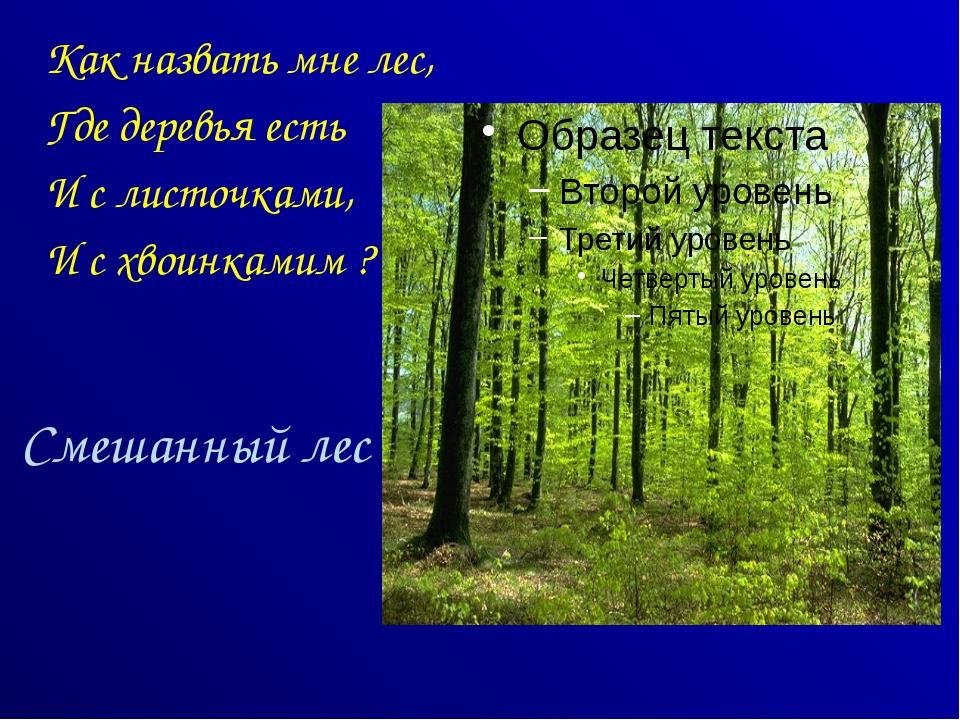 Смешанный лес Как назвать мне лес, Где деревья есть И с листочками, И с хвоин...