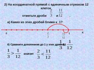 2) На координатной прямой с единичным отрезком 12 клеток отметьте дроби и . а