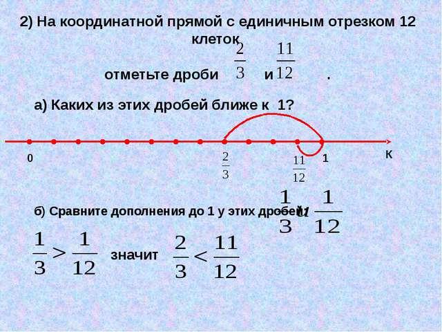2) На координатной прямой с единичным отрезком 12 клеток отметьте дроби и . а...