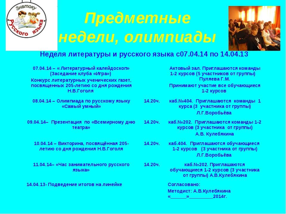 Предметные недели, олимпиады Неделя литературы и русского языка с07.04.14 по...