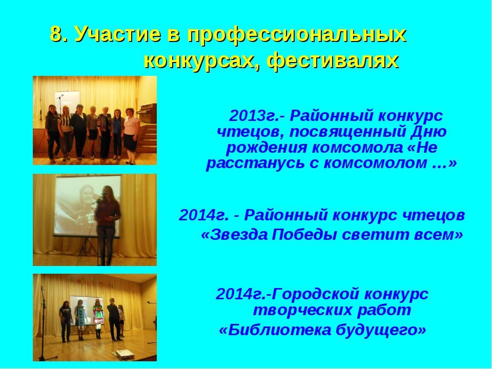 8. Участие в профессиональных конкурсах, фестивалях 2013г.- Районный конкур...